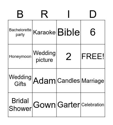 ANGIE'S BRIDAL SHOWER Bingo Card