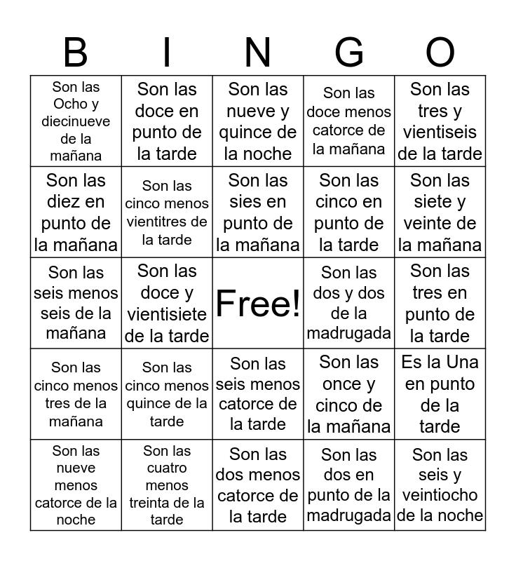 Answer Key Bingo Card