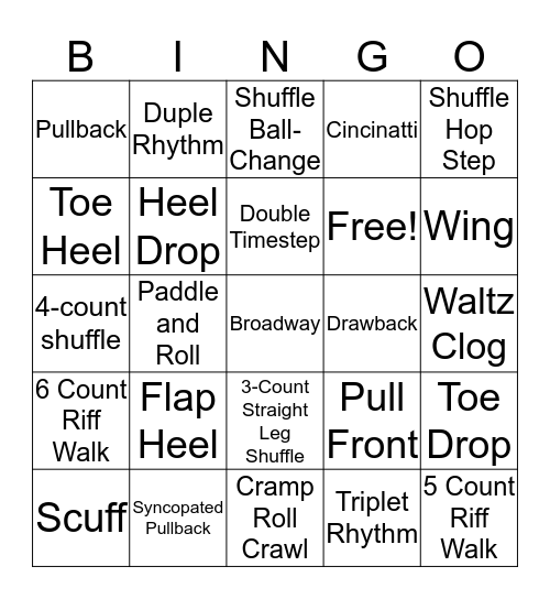 Tap Olympics Bingo  Bingo Card
