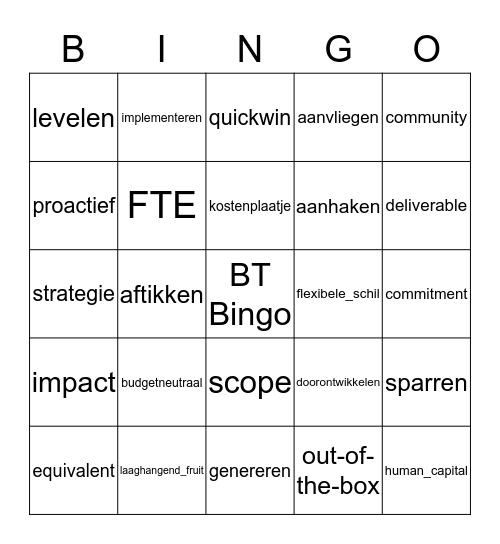 Managementtaal Bingo Card