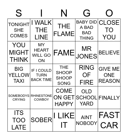367 ARTISTS STARTING WITH THE LETTER C Bingo Card