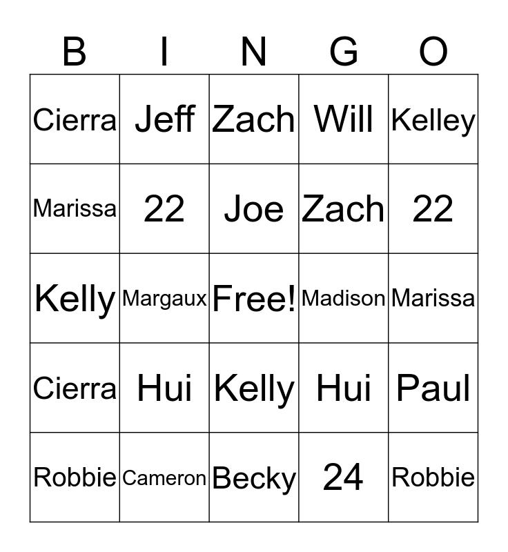 GBIG Bingo Card