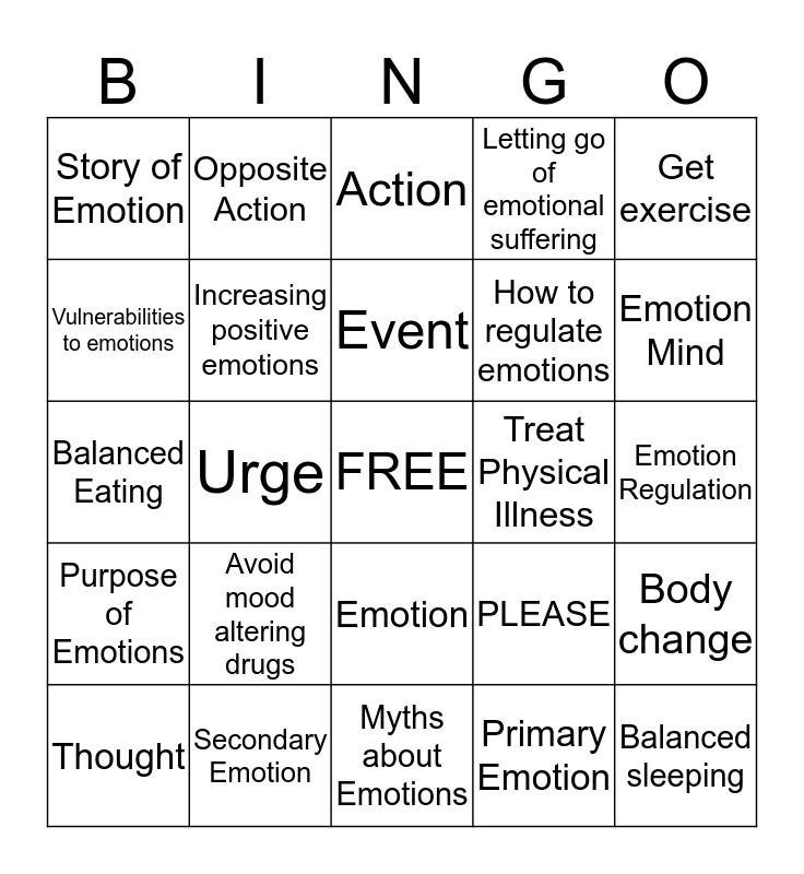 Emotion Regulation Bingo Card