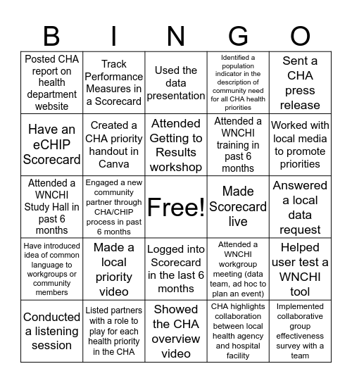 WNC Healthy Impact Bingo Card