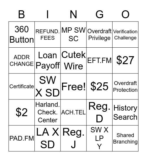 Skill 1 Bingo Card