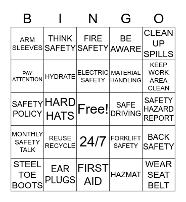 """HEALTH N SAFETY """"IT STARTS WITH ME"""" Bingo Card"""