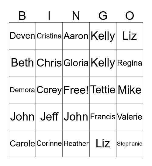 Staying Party Bingo Card