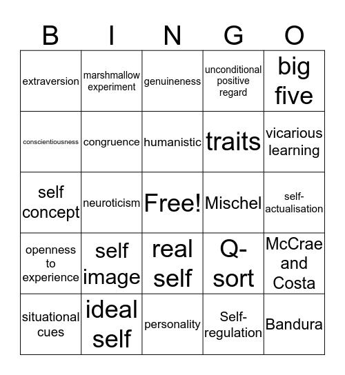 PERSONALITY Bingo Card