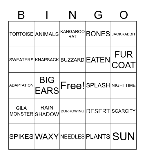 M S Bus All Dried Up Bingo Card