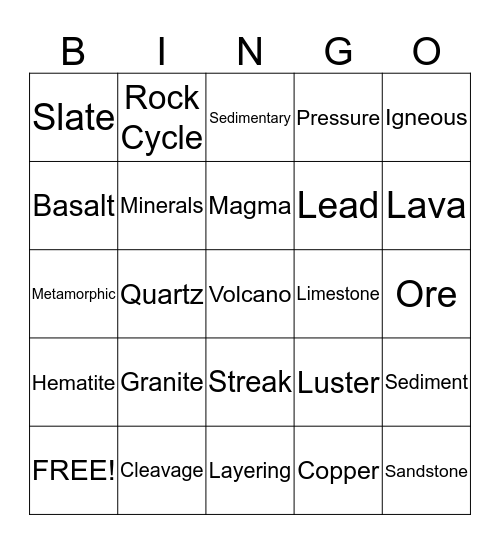 Rock Bingo! Bingo Card