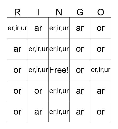 Bossy R Bingo Card