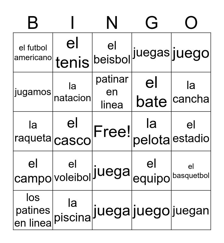 Jugar and Sports vocab Bingo Card
