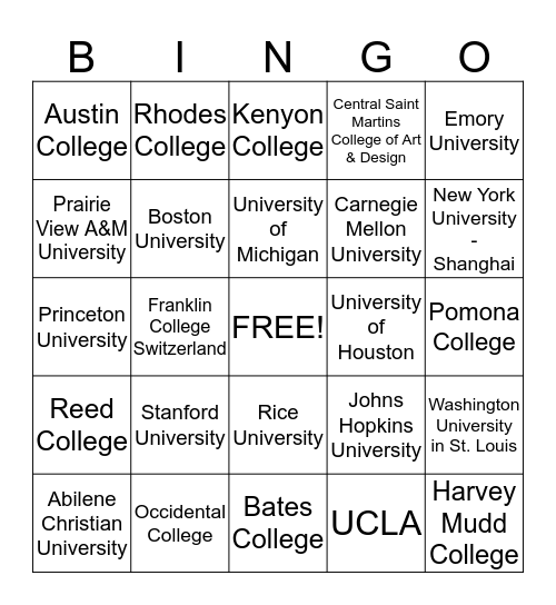 University Bingo!!!! Bingo Card