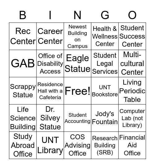 UNT Campus BINGO Card