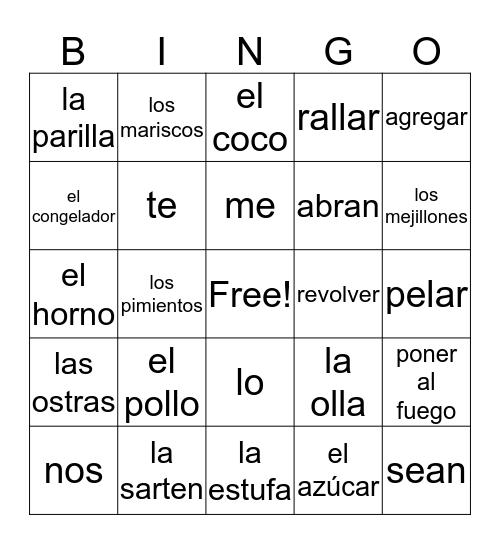 Spanish Bingo!! Bingo Card