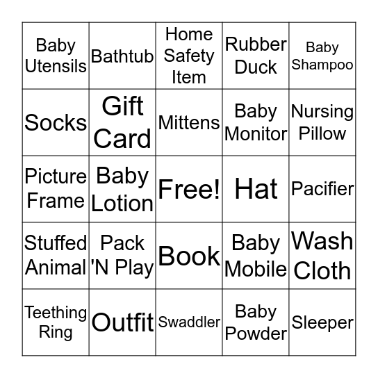 Baby Shower Bingo! Bingo Card