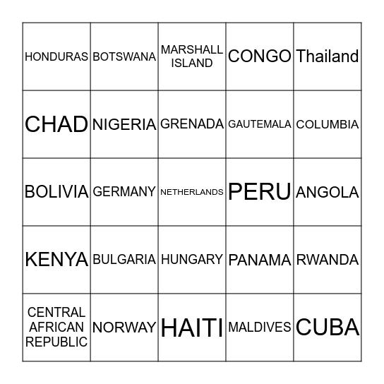 BINGO: COUNTRIES Bingo Card