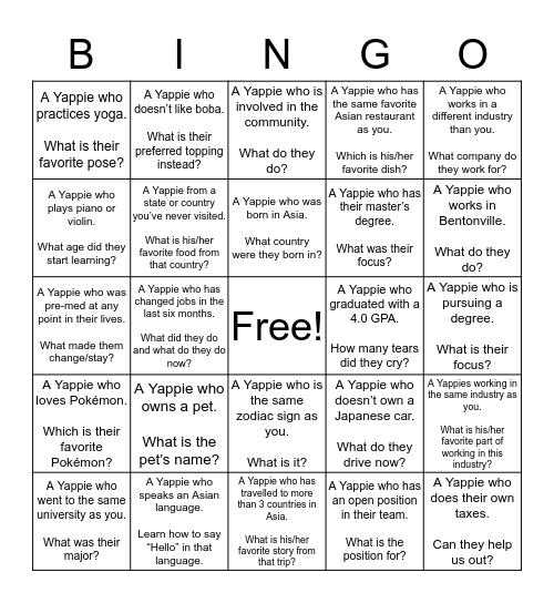 Yappies Networking Bingo! Bingo Card