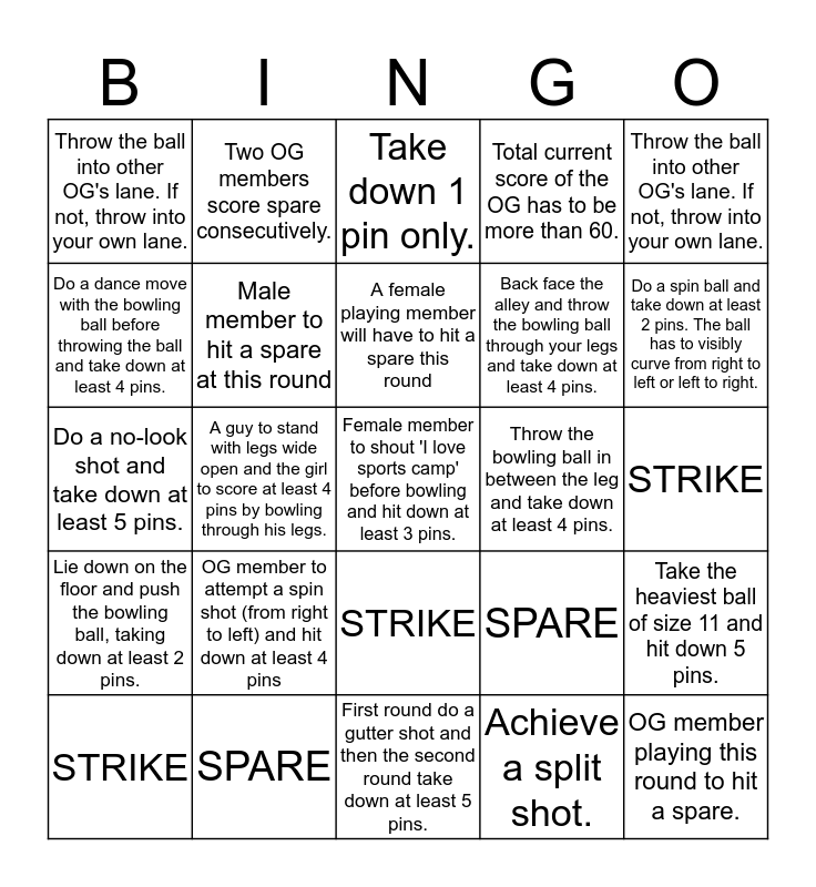 Bowling Magic Bingo Card