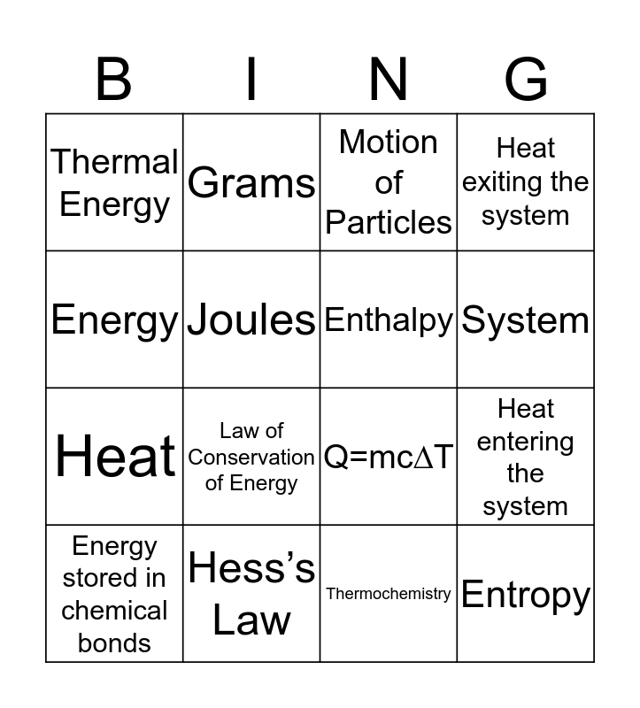 Bing Bingo Card