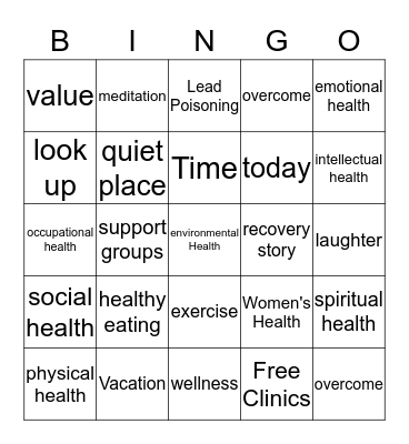 Health Bingo Card