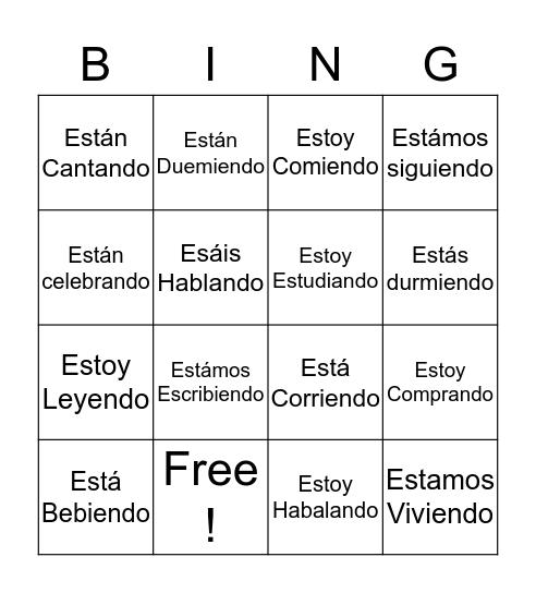 Present Progressive Bingo Card