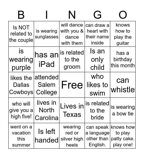 Wedding Bingo, Find someone who... Bingo Card