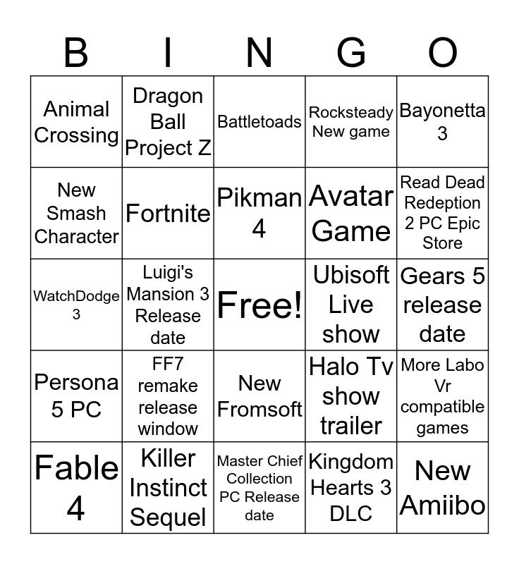 E3 Bingo 2019 Bingo Card