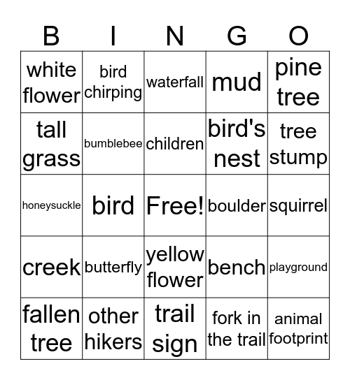 Hiking Bingo Card