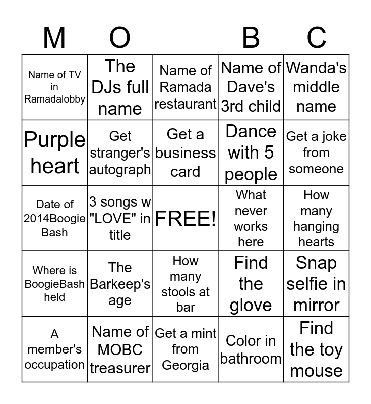 Find all these things Bingo Card