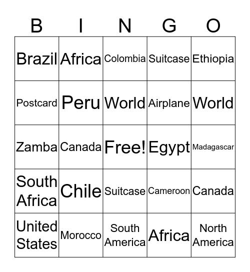 Around The World Bingo Card