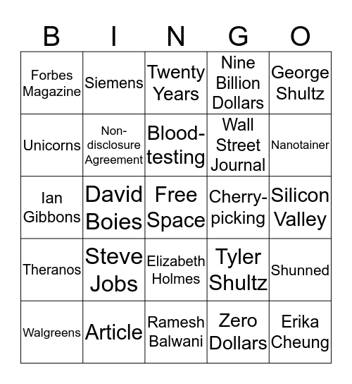 Theranos Book Project Bingo Card