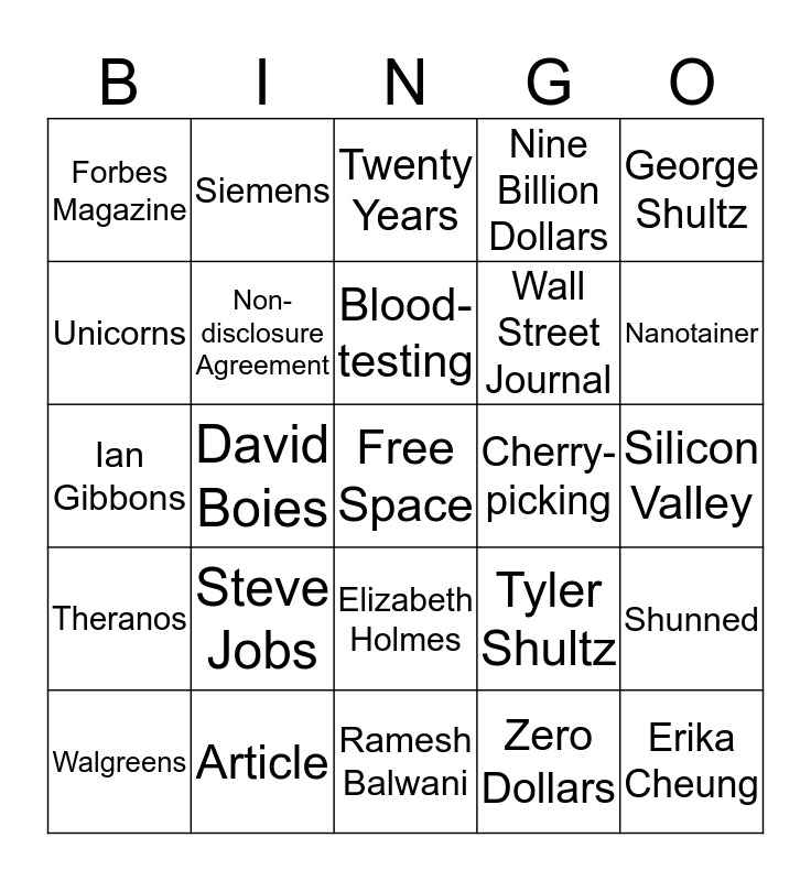 Theranos Book Project Bingo Card