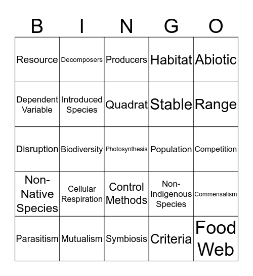 Unit D: Vocab BINGO! Bingo Card