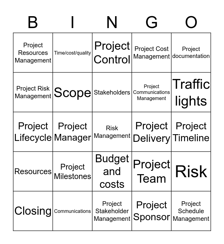 Project Management Bingo Card