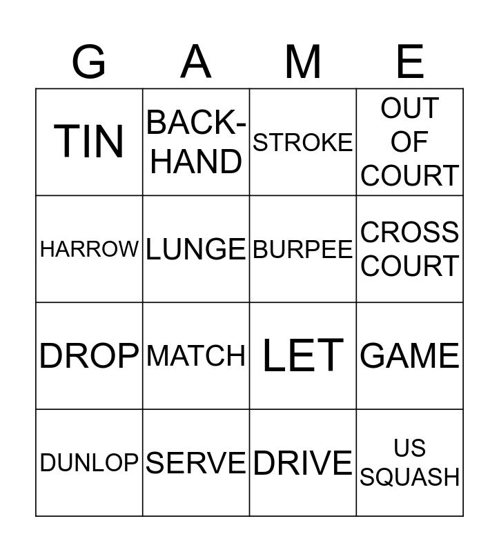SQUASHWISE Bingo Card