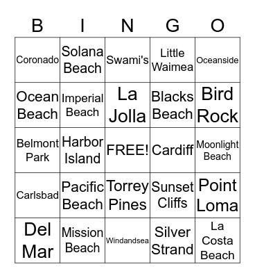 San Diego Beach Bingo Card