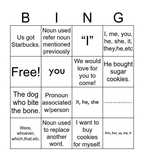 Pronoun Bingo Card