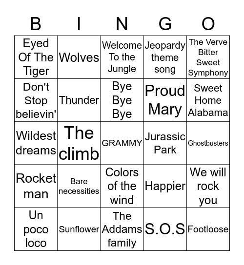 MUSIC Bingo Card