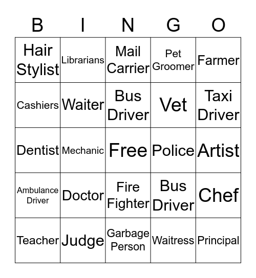 Community Helpers Bingo Card