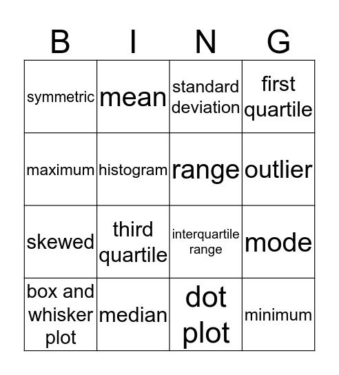 Quantitative Bingo Card
