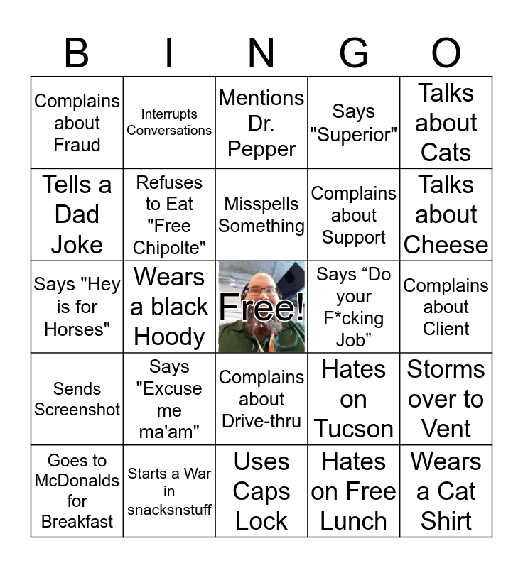 Matt Lattimore Bingo Game Bingo Card