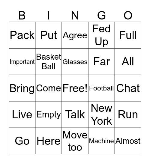 ASL Bingo Card