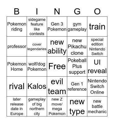 Pokemon Direct Bingo Card