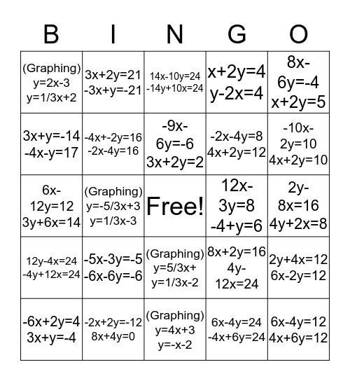 Chapter 3 BINGO Card