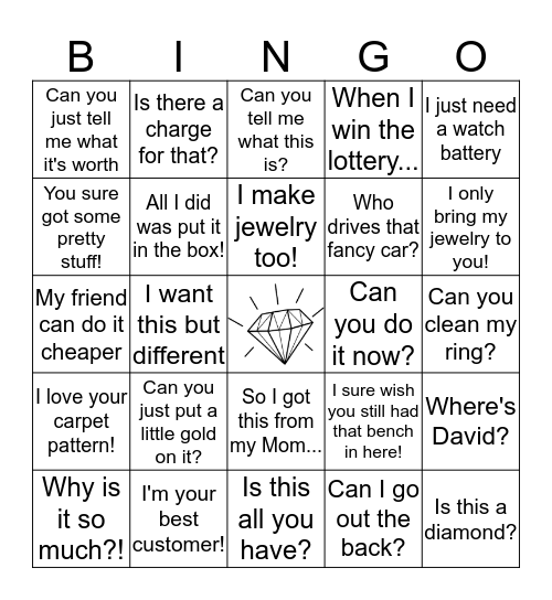 Grace Jewelers Bingo Card