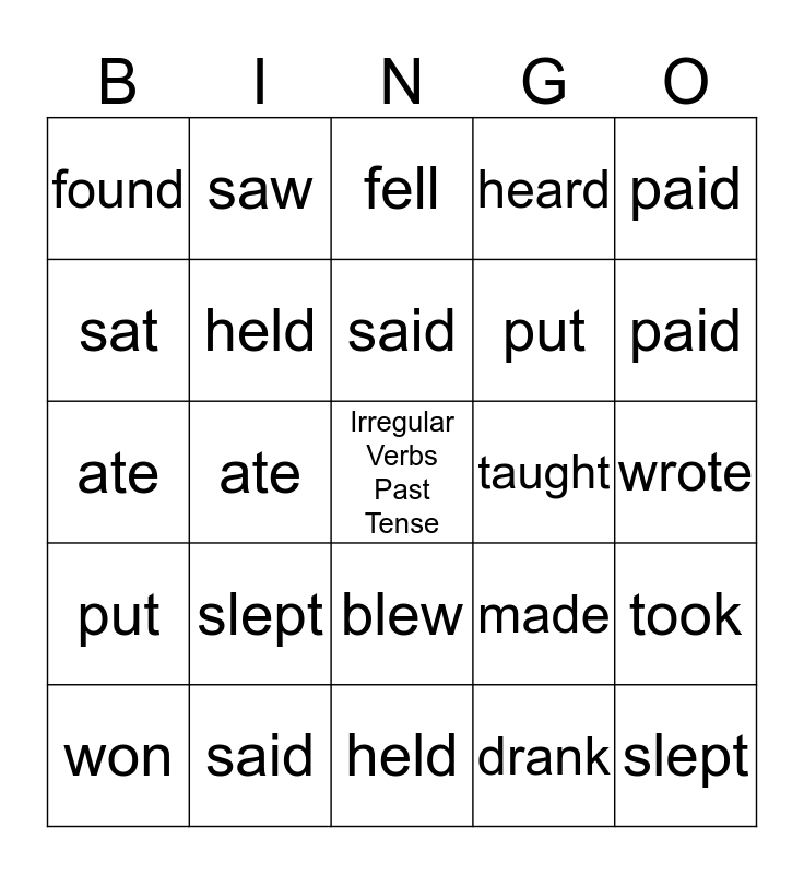 Irregular Verbs Past Tense Bingo Card