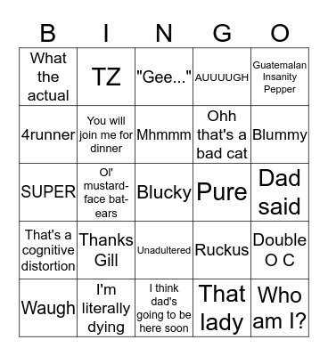 House of House Bingo Card