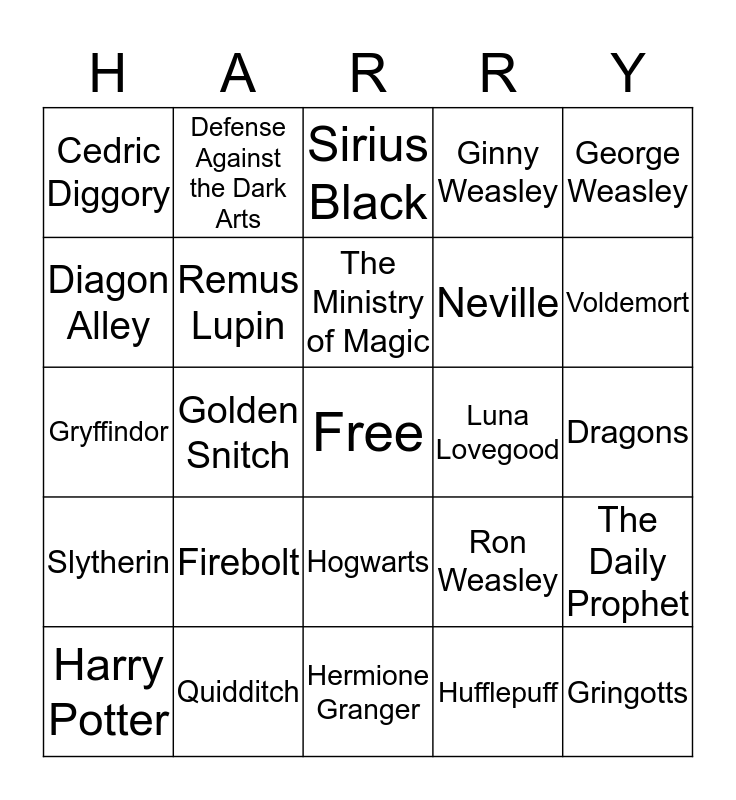 Harry Potter Bingo! Bingo Card