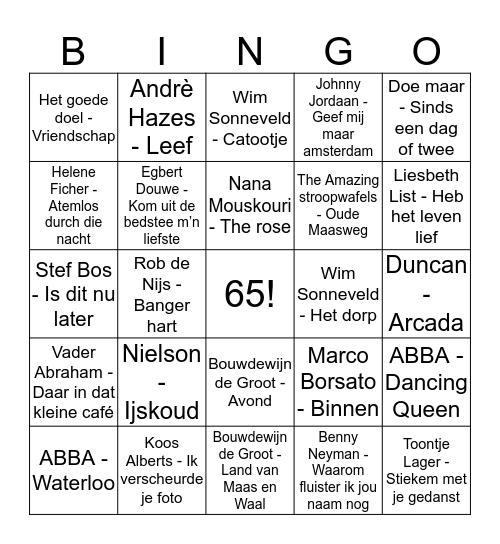Opa en Oma Bingo Card
